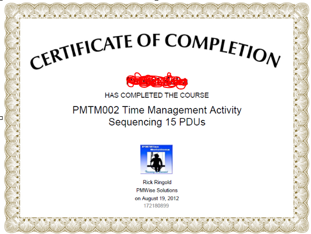 Project Time Management - Activity Sequencing Certificate
